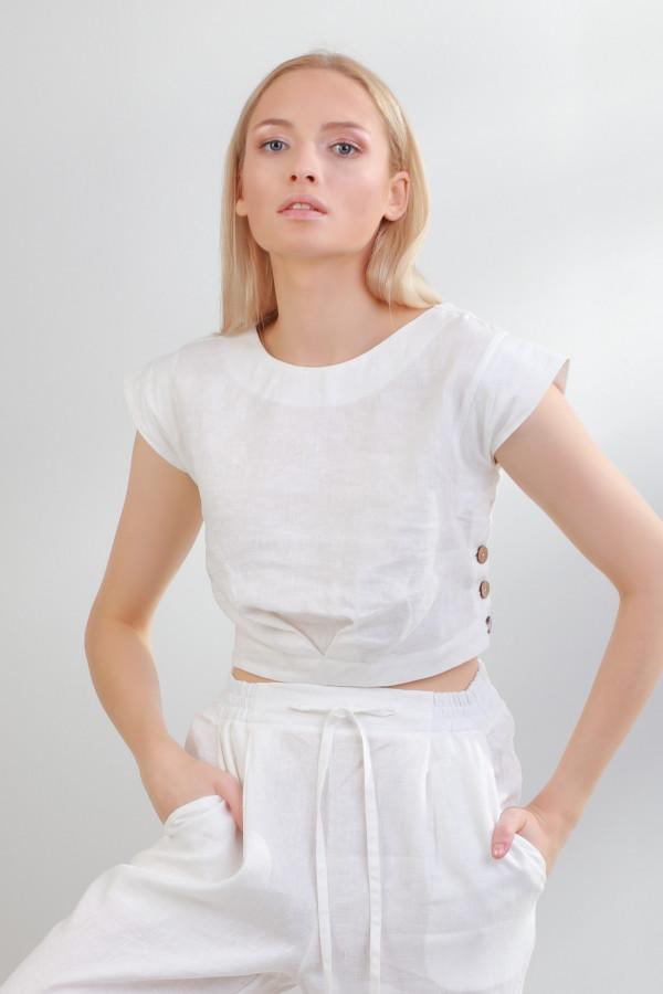 Bluzka z krótkim rękawem lniana Moln Biały 046
