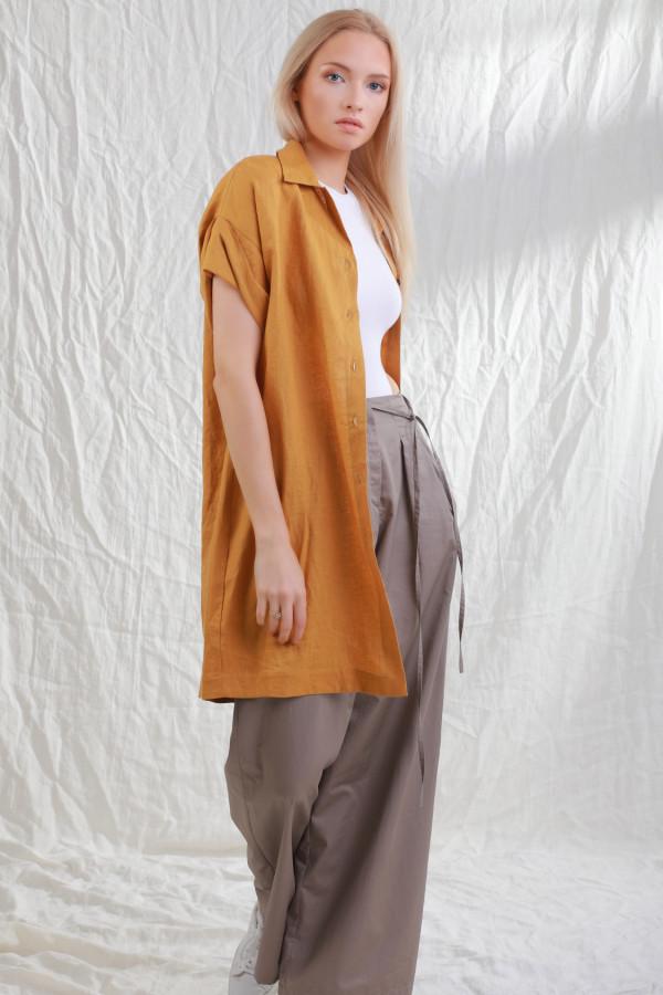 Długa koszula lniana Stjarna Musztardowy 20a
