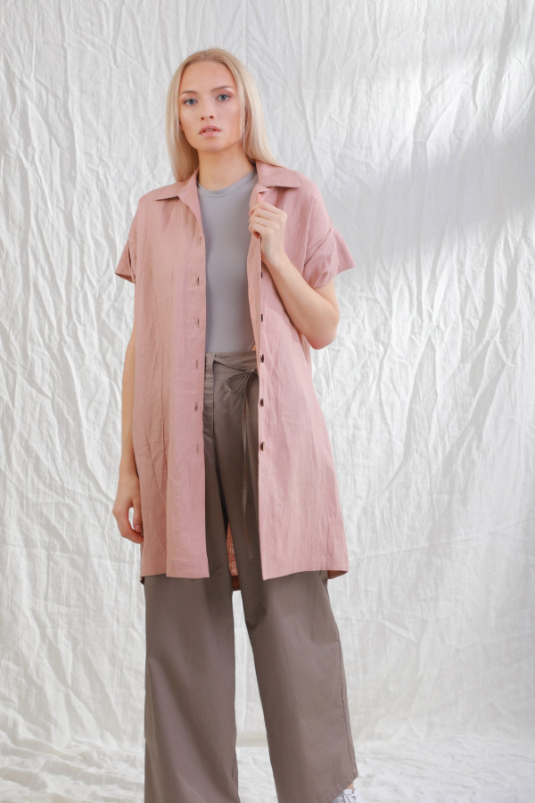 Długa koszula lniana Stjarna Brudny róż 20a
