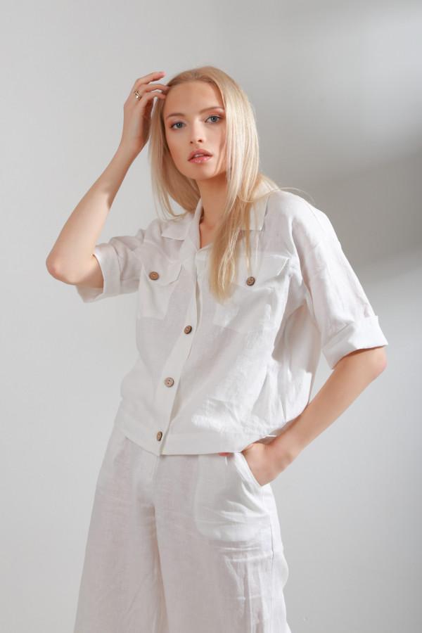 Koszula Lniana Solen Biały 045