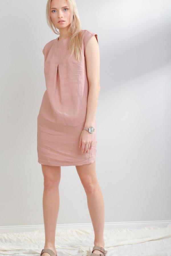 Sukienka lniana Liv Brudny Róż 054