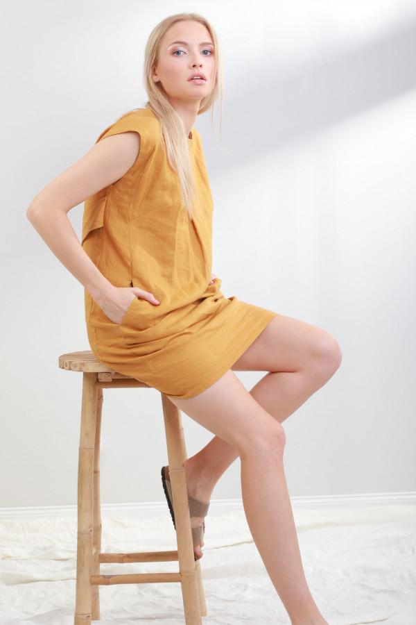 Sukienka lniana Liv Musztardowy 054