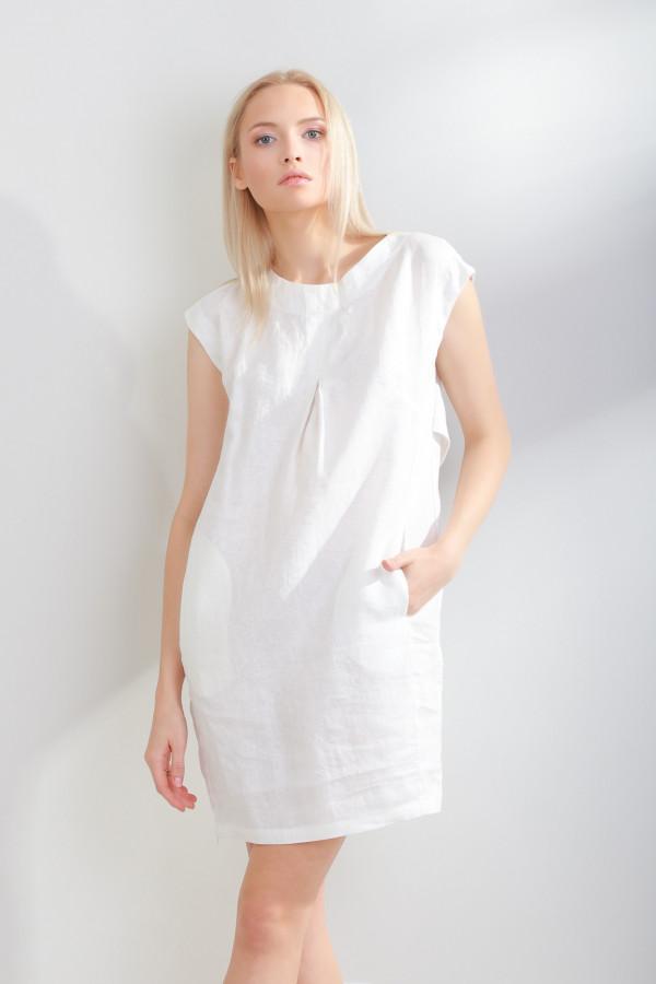 Sukienka lniana Liv Biały 054