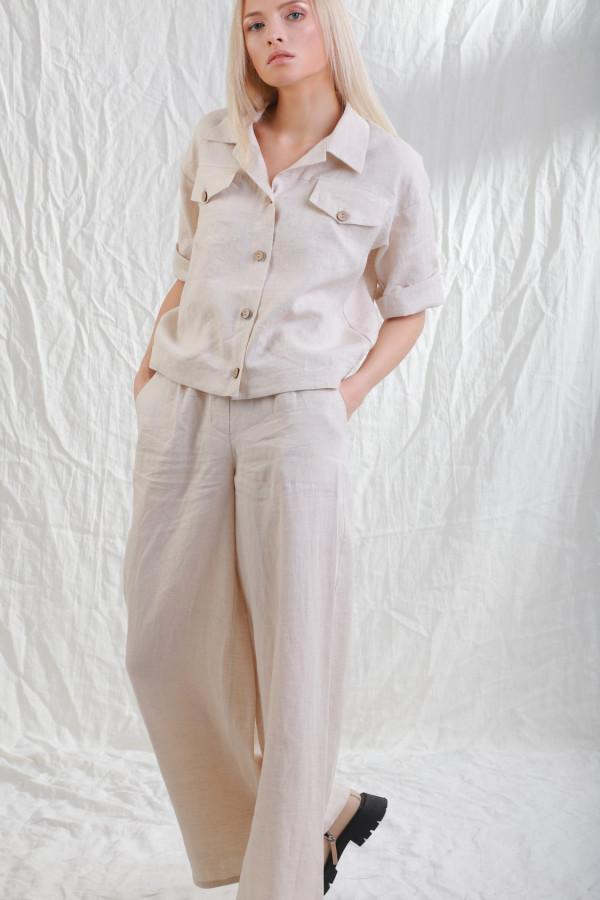 Spodnie lniane Mane Naturalny Len 070