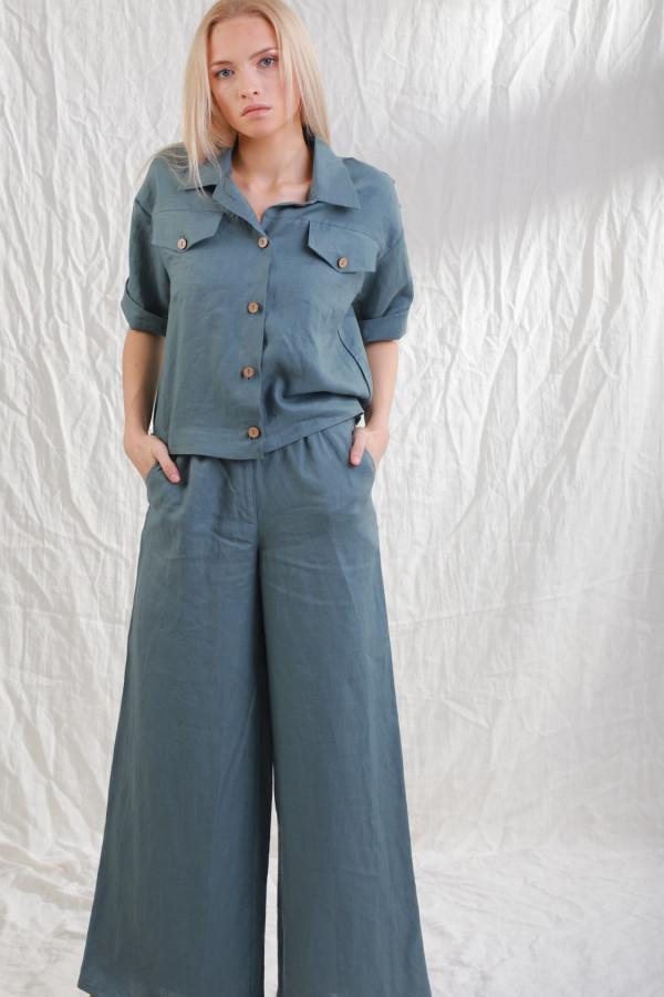 Spodnie lniane Mane Morski 070