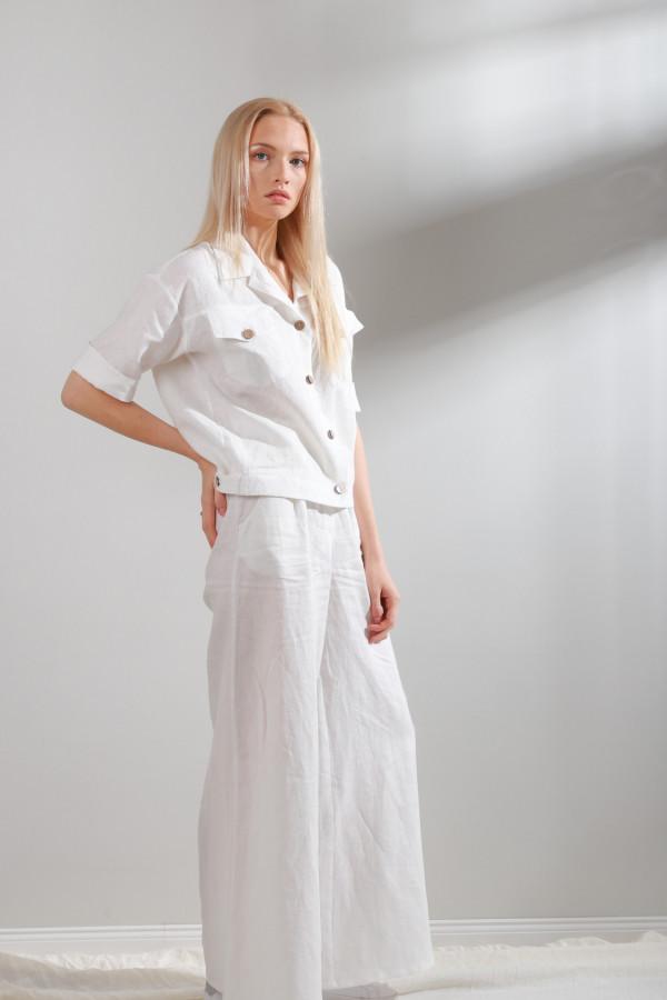 Spodnie lniane Mane Biały 070