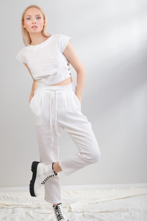 Spodnie lniane Lendee Biały 043