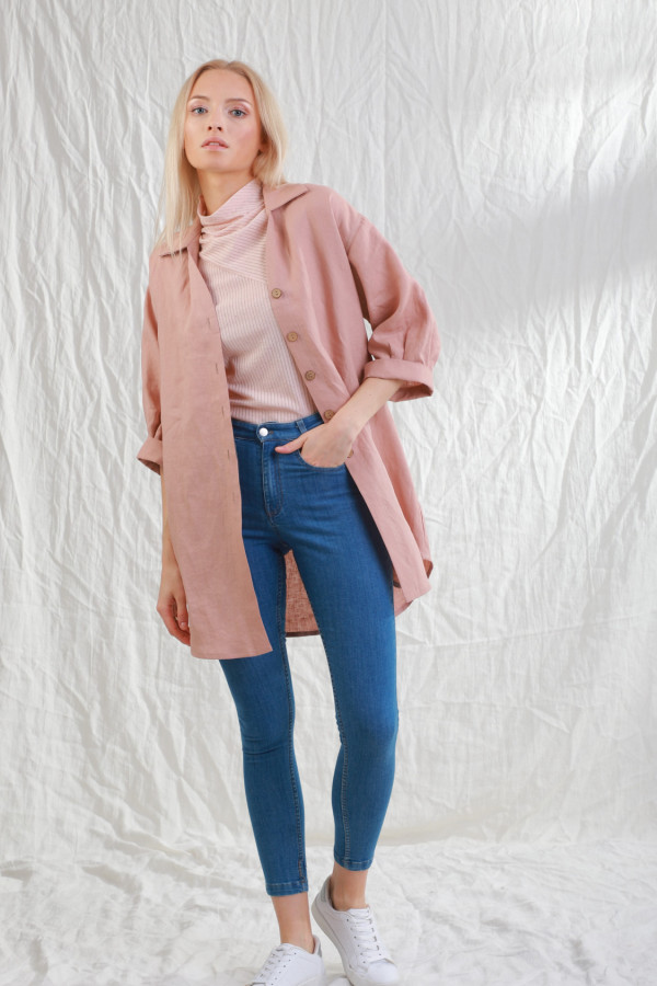 Koszula Lniana Sjo Brudny Róż 051