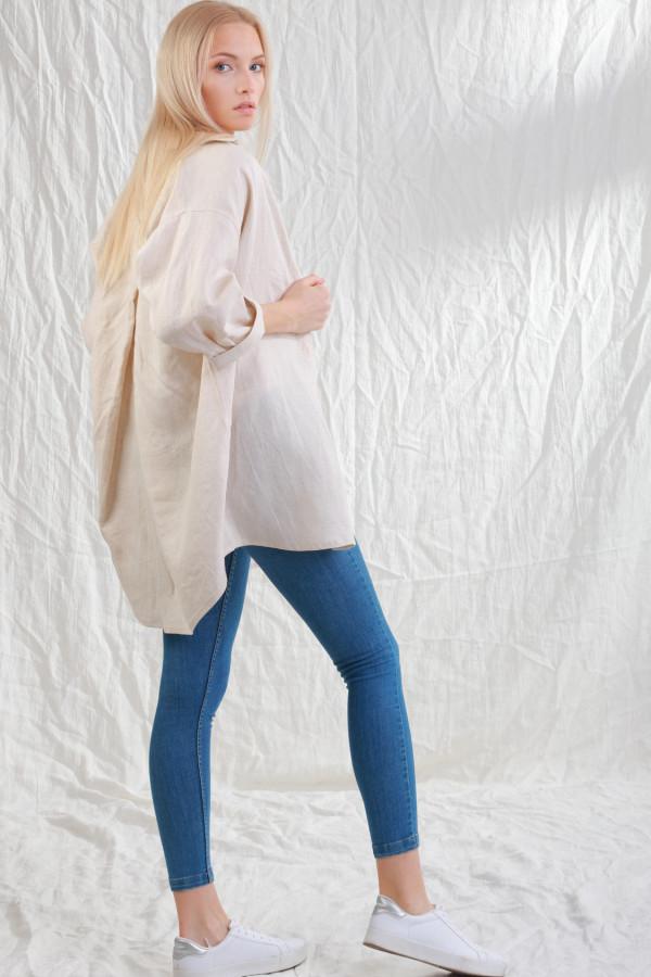 Koszula Lniana Sjo Naturalny Len 051
