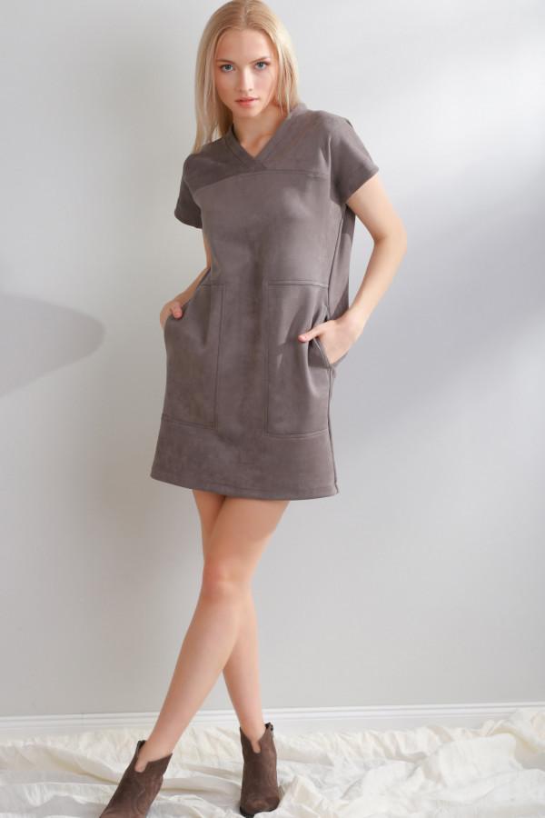 Sukienka zamszowa Solis Szary 056