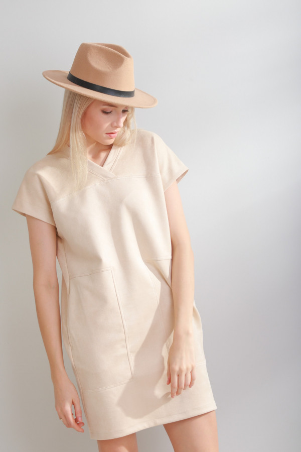 Sukienka zamszowa Solis Śmietanka 056