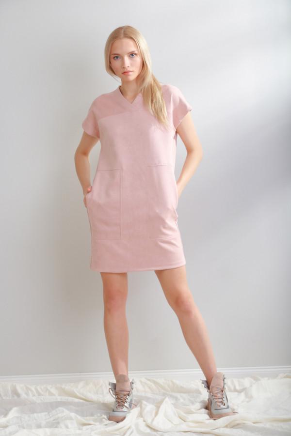 Sukienka zamszowa Solis Pudrowy Róż 056